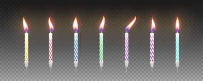 Σύνολο ζωηρόχρωμων κεριών κέικ γενεθλίων με το κάψιμο των φλογών διάνυσμα στοκ φωτογραφίες