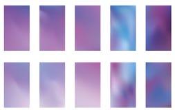 Σύνολο θολωμένων σκοτεινών πορφυρών ιωδών ρόδινων και μπλε υποβάθρων φύσης Ομαλό πρότυπο εμβλημάτων Εύκολο editable μαλακό χρωματ ελεύθερη απεικόνιση δικαιώματος