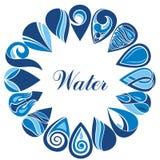 Σύνολο μπλε εικονιδίων πτώσης νερού ελεύθερη απεικόνιση δικαιώματος