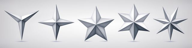 Σύνολο ογκομετρικών διανυσματικών αστεριών Τρεις, τέσσερις, πέντε, έξι και επτά μορφές άνθρακα, μορφή γεωμετρίας, αφηρημένο διάνυ ελεύθερη απεικόνιση δικαιώματος