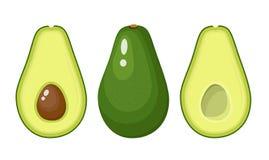 Σύνολο ολόκληρων και των τεμαχισμένων φρούτων αβοκάντο ελεύθερη απεικόνιση δικαιώματος