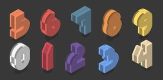 Σύνολο δέκα isometric αριθμών από μηδέν έως εννέα Διανυσματικό τρισδιάστατο πλαστικό σχέδιο αριθμού διανυσματική απεικόνιση