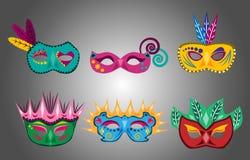 Σύνολο διασκέδασης και ζωηρόχρωμων μασκών καρναβαλιού διανυσματική απεικόνιση