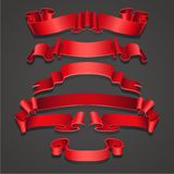 Σύνολο ρεαλιστικών κόκκινων κορδελλών Στοιχείο των δώρων διακοσμήσεων, χαιρετισμοί, διακοπές, σχέδιο ημέρας βαλεντίνων διάνυσμα ελεύθερη απεικόνιση δικαιώματος
