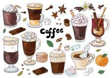 Σύνολο συρμένων χέρι διαφορετικών τύπων καφέδων στο άσπρο υπόβαθρο Για τις επιλογές καφέδων στοκ εικόνα