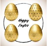 Σύνολο τεσσάρων διαμορφωμένων χρυσών αυγών Πάσχας ελεύθερη απεικόνιση δικαιώματος