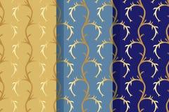 Σύνολο τριών άνευ ραφής σχεδίων με τα αφηρημένα floral στοιχεία στο αναδρομικό ύφος Υφαντικό ύφασμα, εκτύπωση και πολλές άλλες πε διανυσματική απεικόνιση