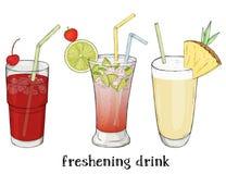 Σύνολο τριών αναζωογονώντας θερινών ποτών Κεράσι, Mojito και milkshake ελεύθερη απεικόνιση δικαιώματος