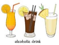 Σύνολο τριών αναζωογονώντας θερινών ποτών Πορτοκάλι, σόδα και milkshake Ζωηρόχρωμη διανυσματική απεικόνιση στο ύφος σκίτσων ελεύθερη απεικόνιση δικαιώματος