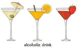 Σύνολο τριών κοκτέιλ Ζωηρόχρωμη διανυσματική απεικόνιση στο ύφος σκίτσων διανυσματική απεικόνιση