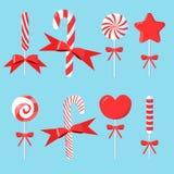 Σύνολο Χριστουγέννων καλάμου καραμελών με τα τόξα στο σύγχρονο επίπεδο σχέδιο διανυσματική απεικόνιση