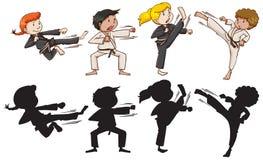 Σύνολο karate παιδιών ελεύθερη απεικόνιση δικαιώματος