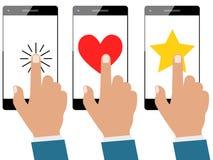 Σύνολο smartphone οθόνης αφής χεριών επιχειρηματιών ή κινητού τηλεφώνου που απομονώνεται διανυσματική απεικόνιση