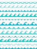 Σύνορα κυμάτων θάλασσας Άνευ ραφής ωκεάνιο θύελλας κυμάτων κυματιστό επιφάνειας μπλε νερού παφλασμών σκιαγραφιών διάνυσμα πλαισίω απεικόνιση αποθεμάτων