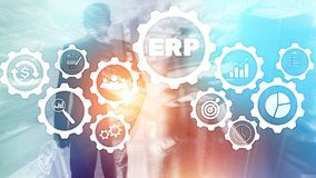 Σύστημα cErp, προγραμματισμός των επιχειρηματικών πόρων στο θολωμένο υπόβαθρο Έννοια επιχειρησιακών αυτοματοποίησης και καινοτομί διανυσματική απεικόνιση