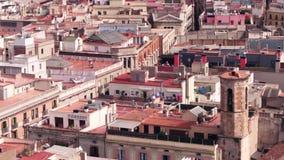Στέγες κατοικήσιμης περιοχής της Βαρκελώνης απόθεμα βίντεο