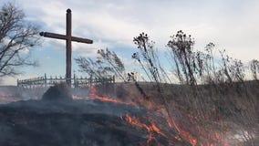 Σταυρός και πυρκαγιά, πυρκαγιά, απόθεμα βίντεο