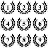 Στεφάνι δαφνών από 1 έως 9 σε ένα άσπρο υπόβαθρο διανυσματική απεικόνιση