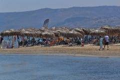 Στην παραλία των ξημερωμάτων Georgioupolis στοκ εικόνα με δικαίωμα ελεύθερης χρήσης