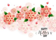 Στοιχεία ημέρας μητέρας και σχεδίου καρδιών επίσης corel σύρετε το διάνυσμα απεικόνισης Ρόδινο υπόβαθρο με τα μαργαριτάρια, καρδι στοκ εικόνες