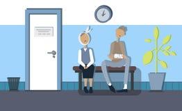 Στο διάδρομο της κλινικής που περιμένει τους ασθενείς - ένας άνδρας και μια γυναίκα Διανυσματική εικόνα στο επίπεδο ύφος σχεδίου στοκ φωτογραφία