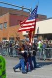 Στρατιωτικός Μάρτιος στην παρέλαση Βοστώνη, ΗΠΑ ημέρας Αγίου Πάτρικ στοκ φωτογραφίες