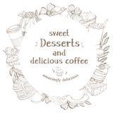 Στρογγυλό πλαίσιο με τα επιδόρπια και καφές για το κείμενό σας Μονοχρωματικά μοντέρνα γλυκά και επιδόρπια σκιαγραφιών με τον καφέ διανυσματική απεικόνιση