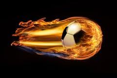 Σφαίρα ποδοσφαίρου σφαιρών ποδοσφαίρου στην πυρκαγιά απεικόνιση αποθεμάτων