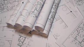 Σχέδια και σχεδιάγραμμα εφαρμοσμένης μηχανικής Αρχιτεκτονικά σχέδια και σχεδιάγραμμα εγγράφου Σχεδιάγραμμα εφαρμοσμένης μηχανικής απόθεμα βίντεο