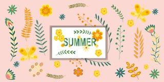 Σχέδιο θερινών το floral εμβλημάτων με το καλοκαίρι επιγραφής ανθίζει και κλάδοι στα χρώματα κρητιδογραφιών επίσης corel σύρετε τ απεικόνιση αποθεμάτων