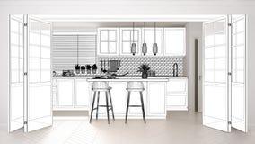 Σχέδιο προγράμματος σχεδιαγραμμάτων, σκίτσο της Σκανδιναβικής κουζίνας με το νησί και λαμπτήρες, εσωτερική ιδέα έννοιας σχεδίου,  διανυσματική απεικόνιση