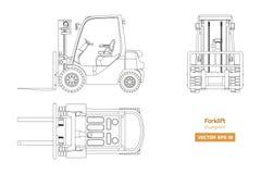 Σχεδιάγραμμα περιλήψεων forklift Τοπ, δευτερεύουσα και μπροστινή άποψη Υδραυλική εικόνα μηχανημάτων Βιομηχανικός απομονωμένος φορ ελεύθερη απεικόνιση δικαιώματος