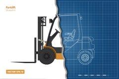 Σχεδιάγραμμα περιλήψεων forklift Τοπ, δευτερεύουσα και μπροστινή άποψη Υδραυλική τρισδιάστατη εικόνα μηχανημάτων Βιομηχανικό έγγρ στοκ φωτογραφία