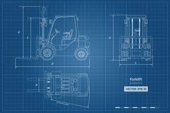 Σχεδιάγραμμα περιλήψεων forklift Τοπ, δευτερεύουσα και μπροστινή άποψη Υδραυλική εικόνα μηχανημάτων Βιομηχανικό έγγραφο με το φορ στοκ φωτογραφίες με δικαίωμα ελεύθερης χρήσης