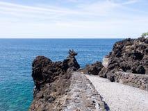 """Σχηματισμός βράχου """"σκυλιών """"ηφαιστειακός στο νησί Pico, Αζόρες, Πορτογαλία στοκ εικόνα"""