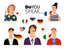 Σχολικά πρόσωπα ξένης γλώσσας διανυσματική απεικόνιση