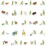 Συλλάβετε τα εικονίδια άγριων ζώων καθορισμένα, isometric ύφος απεικόνιση αποθεμάτων