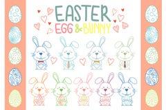Συλλογή του διανύσματος λαγουδάκι και αυγών Πάσχας ελεύθερη απεικόνιση δικαιώματος