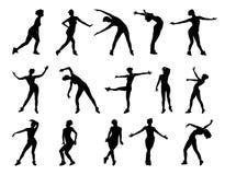 Συλλογή των διανυσματικών σκιαγραφιών των χορεύοντας κοριτσιών που απομονώνονται στο άσπρο υπόβαθρο απεικόνιση αποθεμάτων