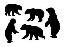 Συλλογή των σκιαγραφιών αρκούδων μπλε διάνυσμα ουρανού ουράνιων τόξων εικόνας σύννεφων ελεύθερη απεικόνιση δικαιώματος