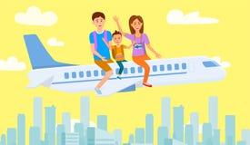 Συνεδρίαση μητέρων, πατέρων και γιων στο σχέδιο αεροπλάνων απεικόνιση αποθεμάτων