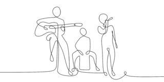 συνεχές σχέδιο γραμμών της ακουστικής απόδοσης συναυλίας στη σκηνή με τον τραγουδιστή και το ακουστικό όργανο ελεύθερη απεικόνιση δικαιώματος