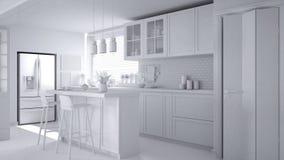 Συνολικό άσπρο πρόγραμμα της σύγχρονης Σκανδιναβικής κουζίνας με το νησί, τα σκαμνιά και τους λαμπτήρες κρεμαστών κοσμημάτων, γρα απεικόνιση αποθεμάτων