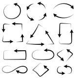 Συνδυασμοί βελών Απλός και σύνθετος μαύρα συρμένα εικονίδια χ&epsi ελεύθερη απεικόνιση δικαιώματος