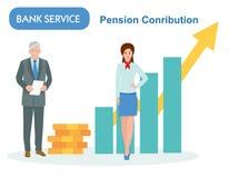 Συνταξιοδοτική αποταμίευση στην τράπεζα αποσυρμένος με το διευθυντή Διάγραμμα εισοδηματικής αύξησης, τραπεζικές υπηρεσίες, οικονο στοκ εικόνες