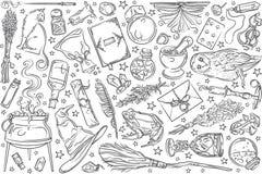 Συρμένα χέρι μαγικά εργαλεία διανυσματική απεικόνιση