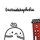 Συρμένη χέρι απεικόνιση Triskaidekaphobia με χαριτωμένο marshmallow διανυσματική απεικόνιση
