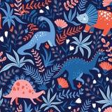 Συρμένο χέρι άνευ ραφής σχέδιο με τους δεινοσαύρους και τα τροπικά φύλλα και τα λουλούδια Τελειοποιήστε για τα παιδιά το ύφασμα,  ελεύθερη απεικόνιση δικαιώματος