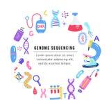 Συρμένο χέρι γονιδίωμα που τοποθετεί διαδοχικά την έννοια Ανθρώπινα σύμβολα ερευνητικής τεχνολογίας DNA διανυσματική απεικόνιση