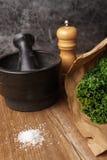Συστατικά για την κατασκευή των τσιπ κατσαρού λάχανου στοκ φωτογραφία με δικαίωμα ελεύθερης χρήσης